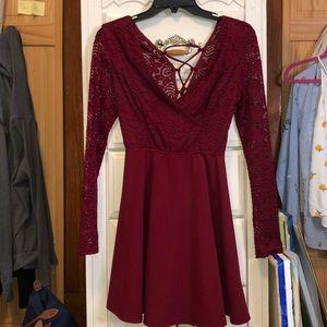 Romantic wrap red skater dress